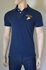 NEW Abercrombie & Fitch Round Mountain Polo Shirt Navy Blue S RRP £72