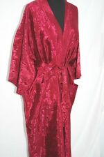 "Maroon Red Rayon Robe Kimono bath robe 50"" long Brand New handmade floral Size L"