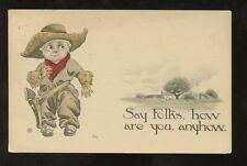 ARTIST BERNHARDT WALL 1915 PPC COWBOY...SAY FOLKS
