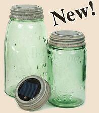 Rustic Weathered Galvanized Led Solar Lid Light Vintage Mason Canning Fruit Jars