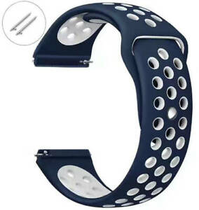 Blue & White Sports Silicone Replacement Watch Band Strap Quick Release Pins #78