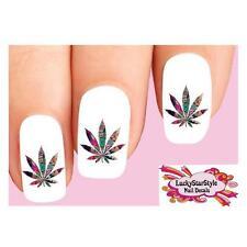 Waterslide Nail Decals Set of 20 - Colorful Cannabis Pot Marijuana Leaf #2