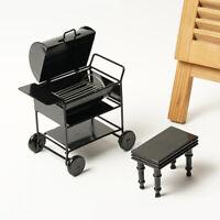 Miniatur Barbecue BBQ Grillwagen für 1/12 Puppenhaus Outdoor Garten Dekoration