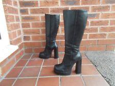 Sexy FAITH Black Leather Knee High Platform Boots * s6 * 39 eu *