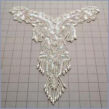 YOKE NECKLINE BODICE PEARL WEDDING BRIDAL SEQUIN BEADED APPLIQUE 2701-WD