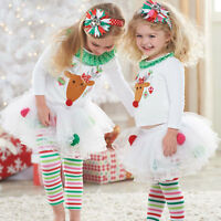 Cute Toddler Kids Baby Girl Outfit T-shirt Top+Tutu Dress Pants Clothes XMAS Set