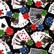 """Game of Chance Playing cards Poker 158 Black 100% cotton Fabric Remnant 26"""""""