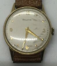 Vintage 10k Yellow Gold Filled Bulova Men's Leather Gents Wrist Watch Working