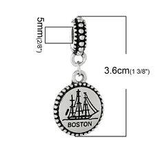 """Boston"" Charm Bead for Snake Chain Charm Bracelets 2683"