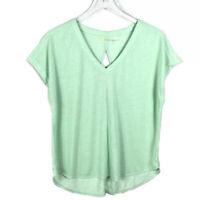 Zella Womens Open Back Tee Shirt Size M Green Short Sleeve V-Neck Athletic Top