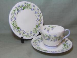 Shelley Harebell Trio Henley Shape Tea Cup Saucer & Side Plate Patt. 13590