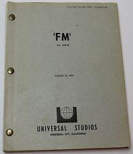 FM * 1977 Original Movie Script * Film about #1 Radio Station in Los Angeles