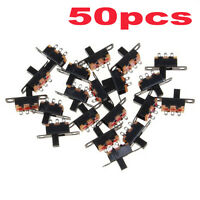 50pcs 5V 0.3 A Mini Size Black SPDT Slide Switch for Small DIY Power Electronic