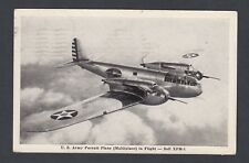 USA 1943 US ARMY PURSUIT PLANE IN FLIGHT BELL XFM-1 POSTCARD REDIRECTED TO KANSA