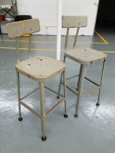 "2 CHAIR LOT, Vintage Lyon Industrial Metal Chair 26-29"" seat adjustable"