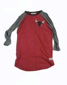 NBA Chicago Bulls Mitchell & Ness 3/4 Sleeve Henley T-shirt Tag patch Xl