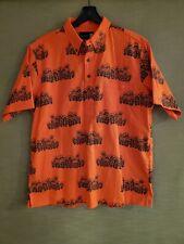 RARE Sig Zane Pullover Hawaiian Aloha Shirt OHIA PATTERN Design ORANGE sz XL