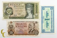 1944-1969 Austria Allied Military Occupation 3 Notes 20, 100 Shilling (VF-UNC)