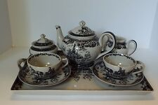 Black Transferware TEA SET Colonial Virginia Toile Pattern Pot Tray Cups