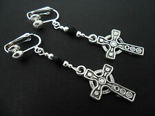 A PAIR OF CELTIC CROSS TIBETAN SILVER BLACK CRYSTAL CLIP ON  EARRINGS. NEW.