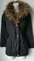 Kids Girls Coat George padded quilted jacket 11-12 black faux fur leopard print