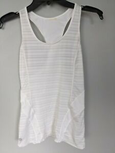 Womens Athleta Small Sleeveless Rouched Small Tank Top Activewear white