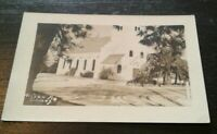 Solvang California RPPC Hilsen Fra Church Photo Postcard early 1900s B&W
