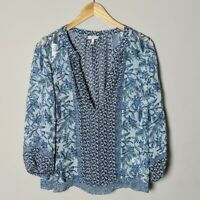 Joie Women's Size Small Blue Sheer 100% Silk 3/4 Sleeve V Neck Blouse Loose Fit