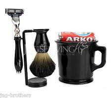 New Design Men's Shaving Kit with Badger Brush & 3 Edge Razor Bowl Soap Stand