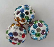 3PCS Rainbow on White Polymer Clay Crystal Shamballa Beads B7 10mm Round Diy