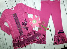 NAARTJIE Tweety Hearts Thermal Tunic Dress & Bell Leggings Set Girl Size 4 LN