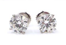 14K White Gold Diamond Studs Earrings