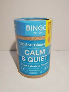 BINGO PET CO Calm/Quiet 120ct Soft Chews, Dog Stress/Anxiety Support EXP:04/21