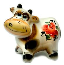 Majolica Porcelain Cow Figurine, Symbol of the Year 2021, Handmade in Russia