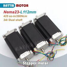3pcs Dual Shaft Nema23 Stepping Motor 112mm425oz In3a For Cnc Milling Machine