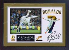 Cristiano Ronaldo Real Madrid imagen fotográfica de impresión Firmada Autógrafo Enmarcado