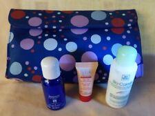 Blue Polka Dot Vinyl Makeup Travel Bag 3 Sample Yves Rocher Products