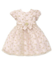 New Little Me Girls Golden Roses Embroidered Dress Size 18 Months MSRP $45.00