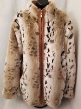 Winlit New York Womens Reversible Leather Imitation Fur Jacket Coat Size L