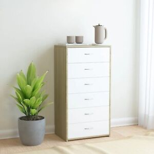 """vidaXL Sideboard with 6 Drawers White and Sonoma Oak 23.6""""x13.4""""x37.8 Chipboard"""