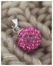 Chaîne 45cm + Pendentif Boule Cristal Swarovski Rose Argent 925 Bijoux Femme