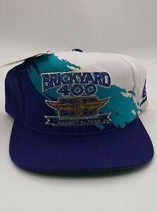 Vintage 1995 Brickyard 400 Indy Paint Splash Snapback Logo Athletic Hat Cap NWT