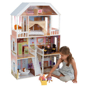 New Kidkraft Savannah Dollhouse 4 Levels Girls Barbie Furniture Doll Play House