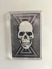 Plastic Black White & Grey Psychedelic Skull Fridge Magnet