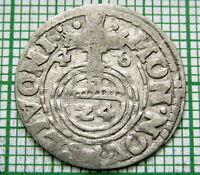 SWEDISH LIVONIA RIGA QUEEN CHRISTINA 1648 3 POLKER - 1/48 THALER, SILVER