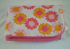 """Just One Year Carters Pink Baby Blanket Orange White Flowers Sherpa 30x40"""""""