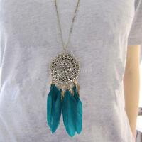 vintage style Blue Feather Dream Catcher Tassel Pendant Sweater Chain Necklace