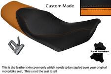 ORANGE & BLACK CUSTOM FITS KTM 690 DUKE 07-11 DUAL LEATHER SEAT COVER