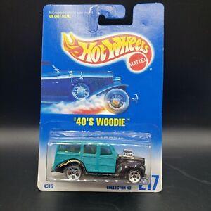 Hot Wheels 1991 #4316 40s Woodie Green Black Mattel Diecast 1:64 Scale