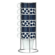 Set Of 6 Blue Dots 300ml Stackable Mugs With Chrome Stand Tea Coffee Latte Cups
